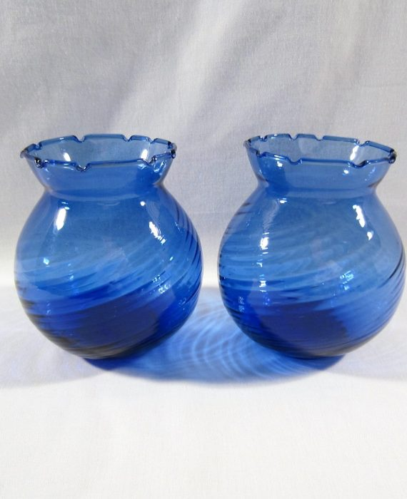 Mexican Hand Blown Swirl Cobalt Blue Votive Candle Holders Vases