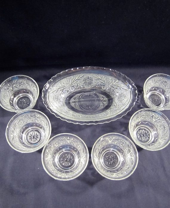 Indiana Glass Tiara Sandwich Clear Fruit Serving & Berry Bowl Set