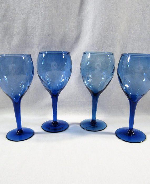 Mexican Hand Blown Swirl Cobalt Blue Wine Glasses