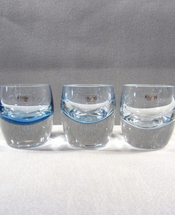 Krosno Poland Crystal Ice Blue Heavy Votive Candle Holders