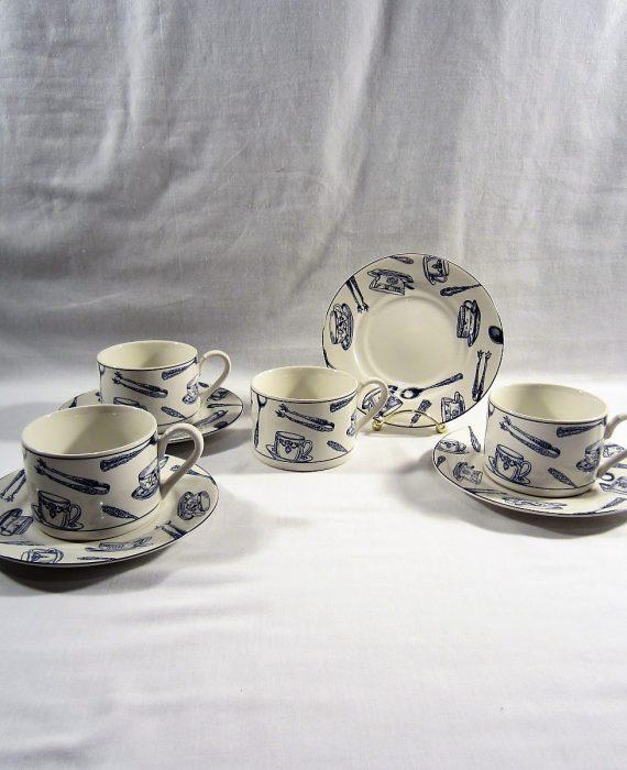 Fitz Floyd Omnibus Americana Colony Blue Cups & Saucer Sets