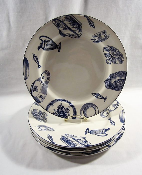 Fitz Floyd Omnibus Americana Colony Blue Dinner Plates