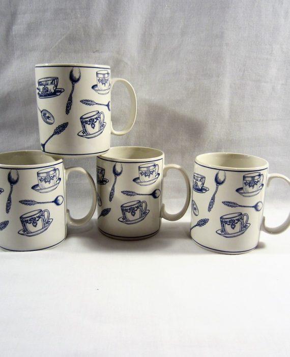 Fitz Floyd Omnibus Americana Colony Blue Mugs
