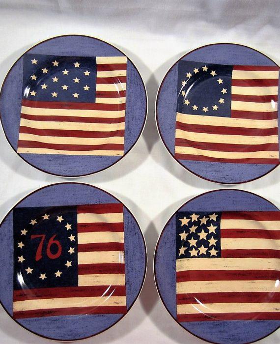 Warren Kimble Spirit Of The Flag Sakura Brandon House Salad Dessert Plates