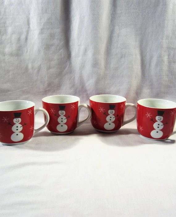 Crate & Barrel Snowman Snowflake Red Cups
