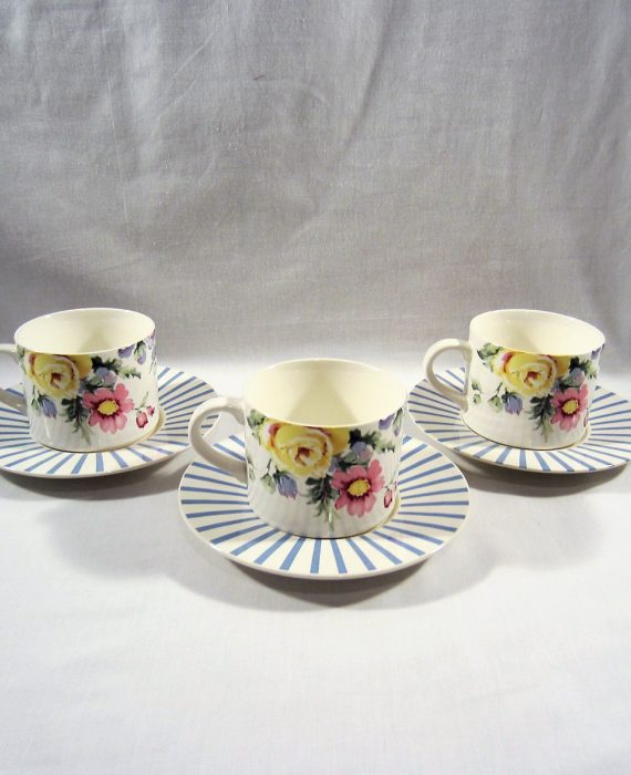 Horchow Patricia Stoneware Floral Blue Stripe Cups & Saucers