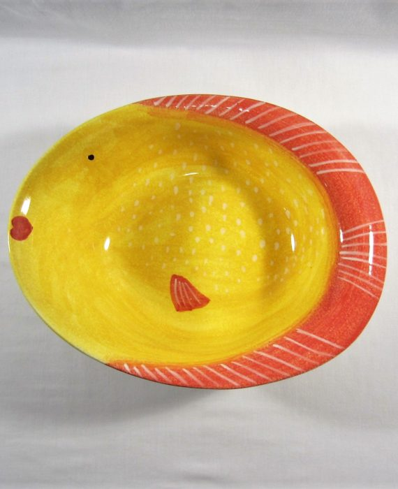 Modigliani Italy Pesce Fish Yellow Handmade & Painted Large Bowl