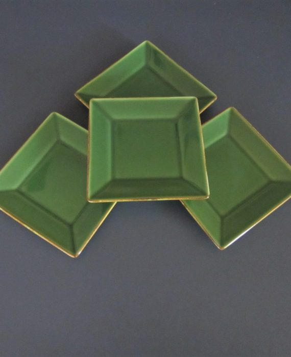 Pottery Barn Asian Square Green 6 inch Dessert Snack Plates