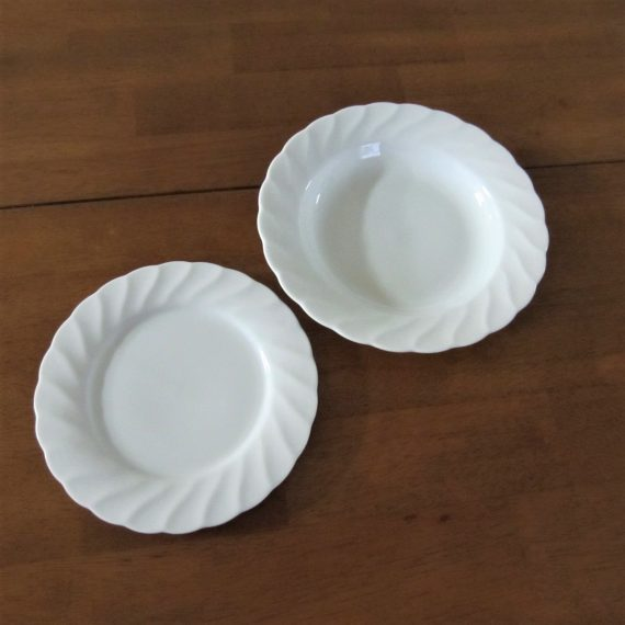 Noble Excellence White Swirl Large Rim Soup Bowl & Salad Plate