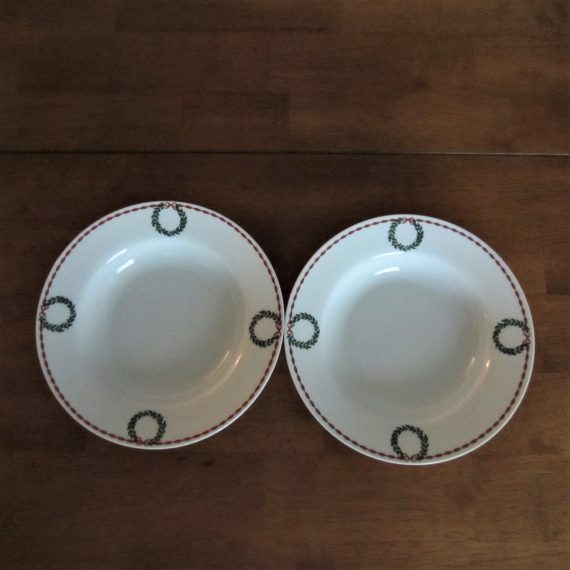 Laura Ashley Holly Wreath Rimmed Soup Bowls