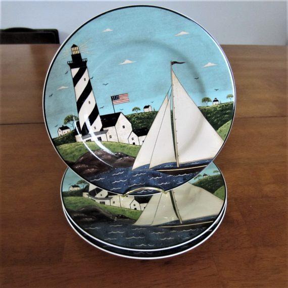 Warren Kimble Sakura Coastal Breeze Lighthouse Sailboats Salad Dessert Plates 3